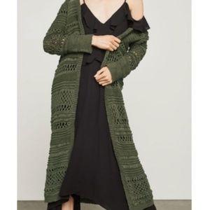 BCBG • Crochet Duster Long Cardigan Green